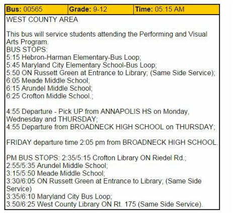 what s the big deal start school later a bus schedule for certain students from anne arundel county public schools in maryland 2014 15 school year students are expected to be at the bus stop at